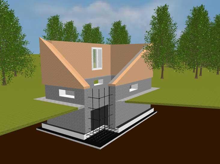 Фундамент под цоколь с монолитной плитой с монолитными стенами (цокольный этаж) фото